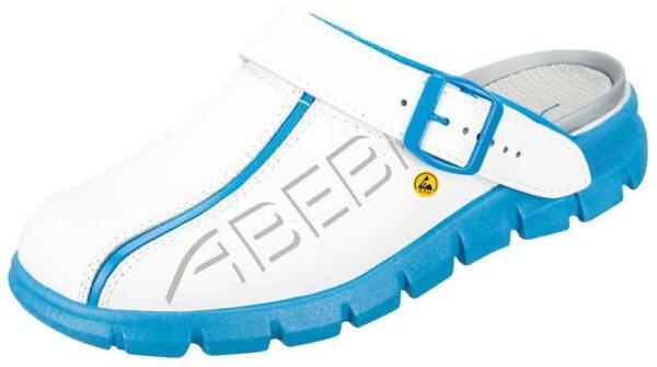 ABEBA Clog weiß/ blau mit Aufdruck ESD 37312 OB