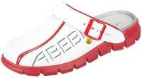 ABEBA Clog weiß/ rot mit Aufdruck ESD 37313 OB