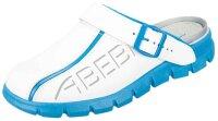 ABEBA Clog weiß/ blau mit Aufdruck 7312 OB