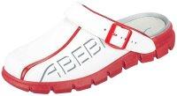 ABEBA Clog weiß/ rot mit Aufdruck  7313 OB